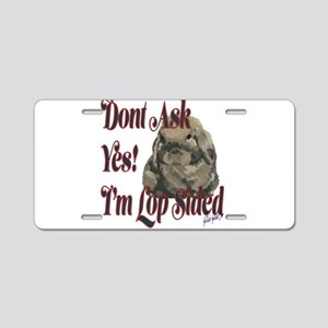 Lop Sided Holland Lop Desig Aluminum License Plate