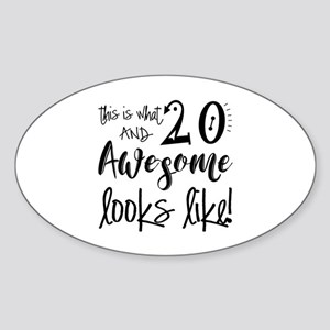 Awesome 20 Years Old Sticker (Oval)
