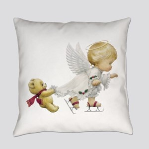 Cute Christmas Baby Angel Skating Everyday Pillow