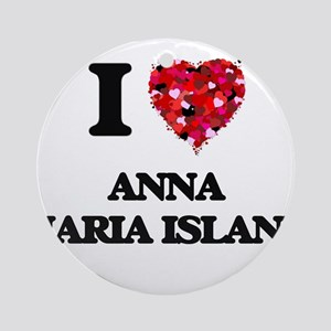 I love Anna Maria Island Florida Round Ornament