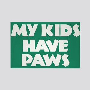My Kids Has Paws Rectangle Magnet