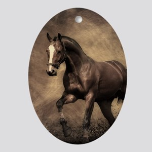Beautiful Brown Horse Oval Ornament