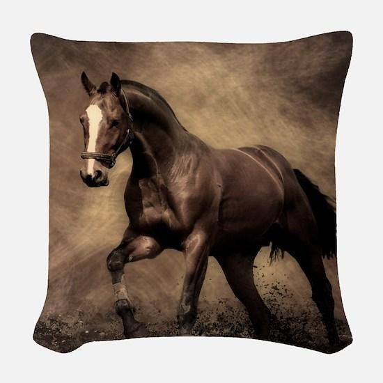 Beautiful Brown Horse Woven Throw Pillow
