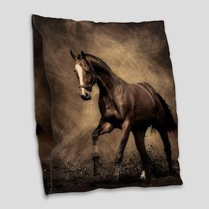 Beautiful Brown Horse Burlap Throw Pillow