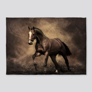 Beautiful Brown Horse 5'x7'Area Rug