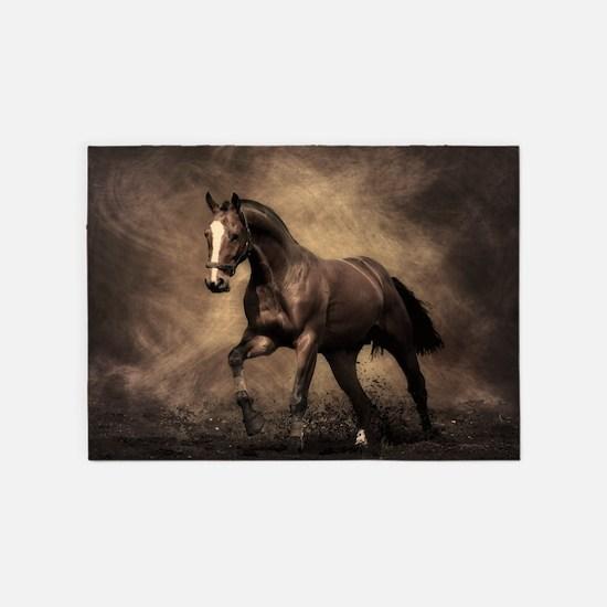 Beautiful Brown Horse 5 X7 Area Rug
