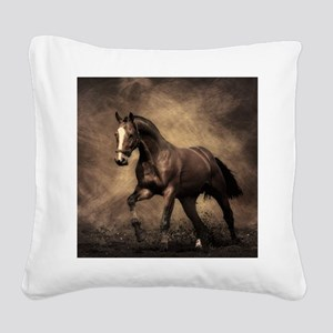Beautiful Brown Horse Square Canvas Pillow
