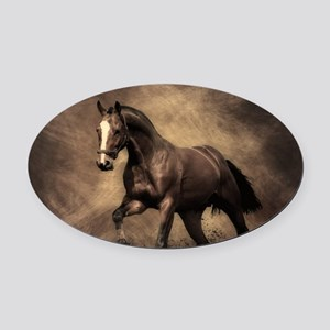 Beautiful Brown Horse Oval Car Magnet