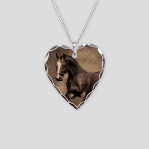 Beautiful Brown Horse Necklace Heart Charm