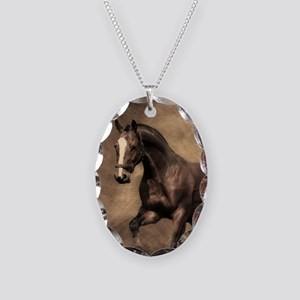Beautiful Brown Horse Necklace Oval Charm