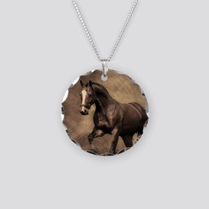 Beautiful Brown Horse Necklace Circle Charm