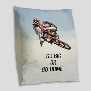 Motocross Rider Burlap Throw Pillow