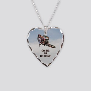 Motocross Rider Necklace Heart Charm