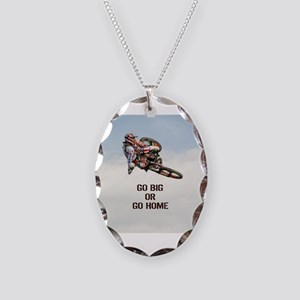 Motocross Rider Necklace Oval Charm