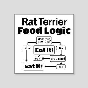 "Rat Terrier Food Square Sticker 3"" x 3"""