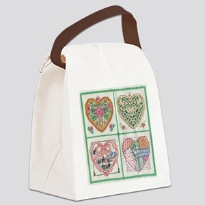 4 Hearts Cross-Stit... Canvas Lunch Bag