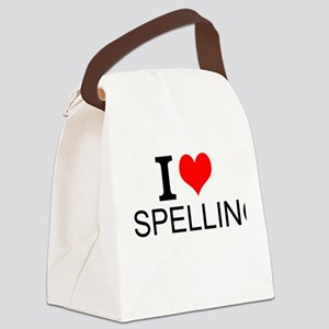 I Love Spelling Canvas Lunch Bag