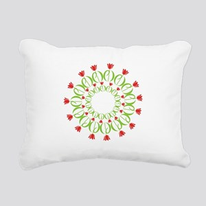 pd tulip wreath Rectangular Canvas Pillow