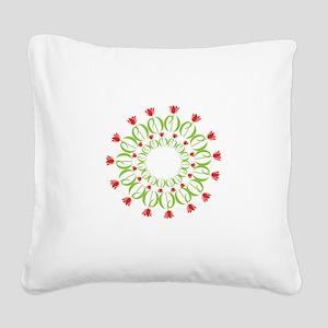 pd tulip wreath Square Canvas Pillow