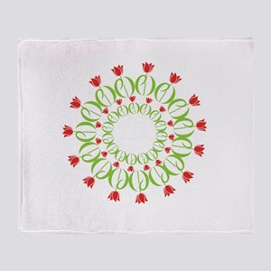 pd tulip wreath Throw Blanket
