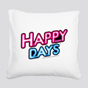 Happy Days Neon Light Square Canvas Pillow