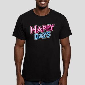 Happy Days Neon Light Men's Fitted T-Shirt (dark)