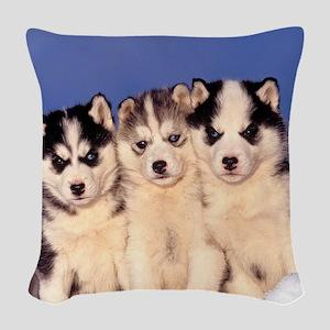 Three Husky puppies Woven Throw Pillow
