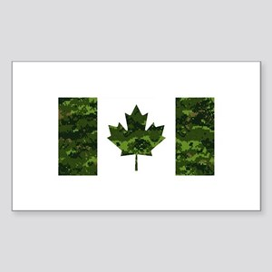 Canadian Flag with Green Camo Background Sticker