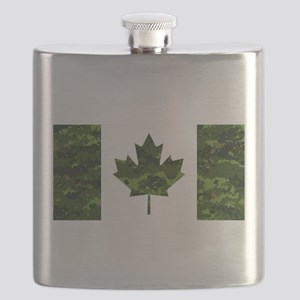 Canadian Flag with Green Camo Background Flask