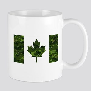 Canadian Flag with Green Camo Background Mugs