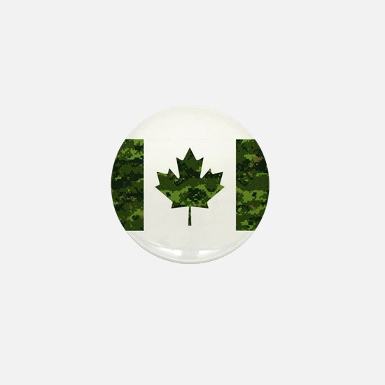 Canadian Flag with Green Camo Backgrou Mini Button