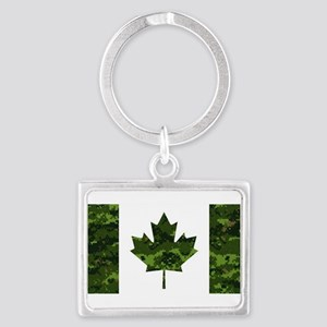 Canadian Flag with Green Camo Background Keychains