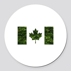 Canadian Flag with Green Camo Bac Round Car Magnet