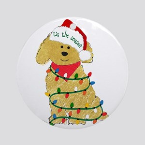 Christmas Goldendoodle Round Ornament