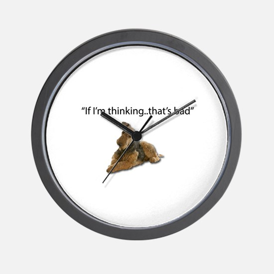 A thinking Airedale is a plotting, dest Wall Clock