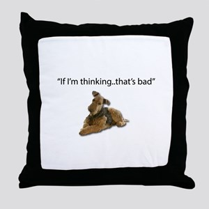 A thinking Airedale is a plotting, de Throw Pillow