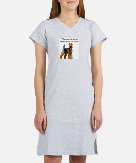 Airedale determined to sleep on Women's Nightshirt
