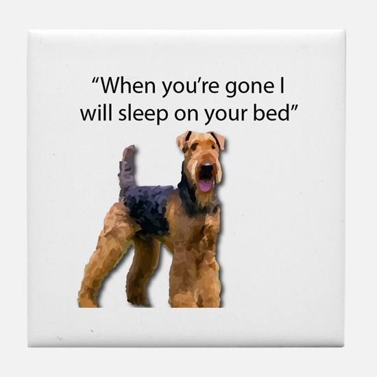 Airedale determined to sleep on your Tile Coaster