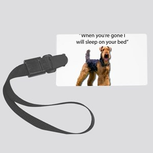 Airedale determined to sleep on Large Luggage Tag