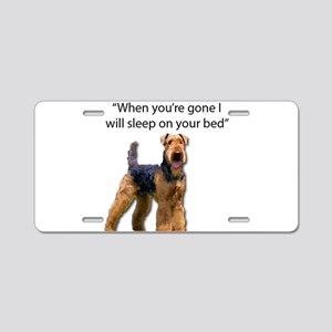 Airedale determined to slee Aluminum License Plate
