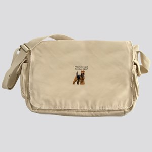 Stubborn Airedale Terrier Protesting Messenger Bag