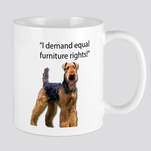 Stubborn Airedale Terrier Protesting his Furn Mugs