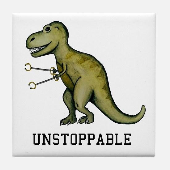 Cute Unstoppable t rex Tile Coaster