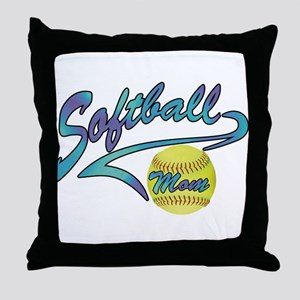 Fastpitch Softball Mom Athletic Tail Throw Pillow