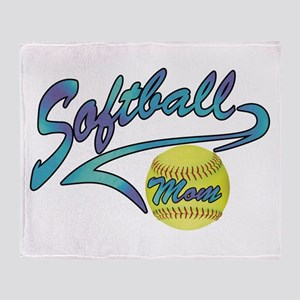 Fastpitch Softball Mom Athletic Tail Throw Blanket