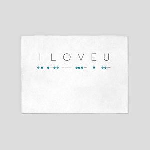 I Love You in Morse Code Alphabet 5'x7'Area Rug