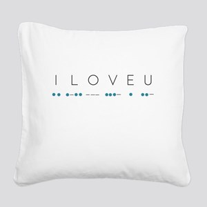 I Love You in Morse Code Alph Square Canvas Pillow