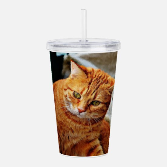 Cat Oil Painting Acrylic Double-wall Tumbler