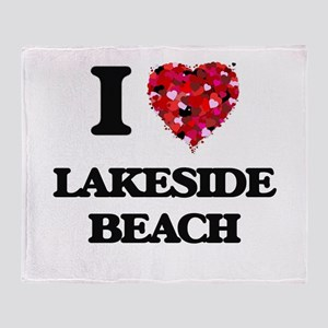 I love Lakeside Beach Michigan Throw Blanket