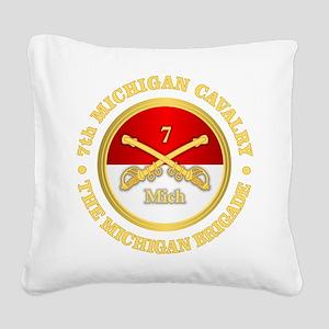 7th Michigan Cavalry Square Canvas Pillow